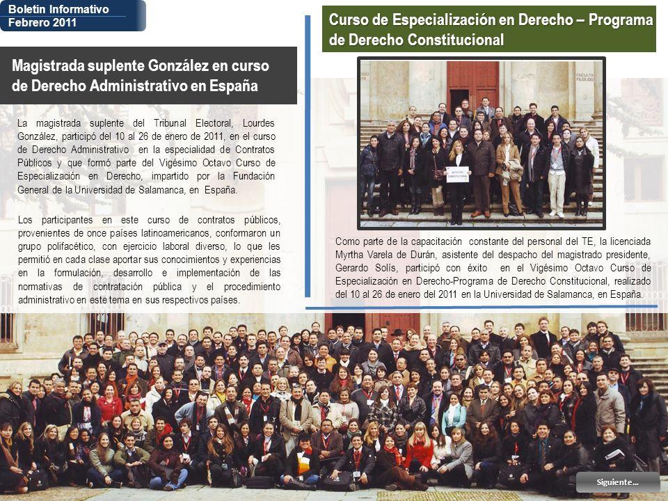 Boletín Informativo Febrero 2011. Curso de Especialización en Derecho – Programa de Derecho Constitucional.