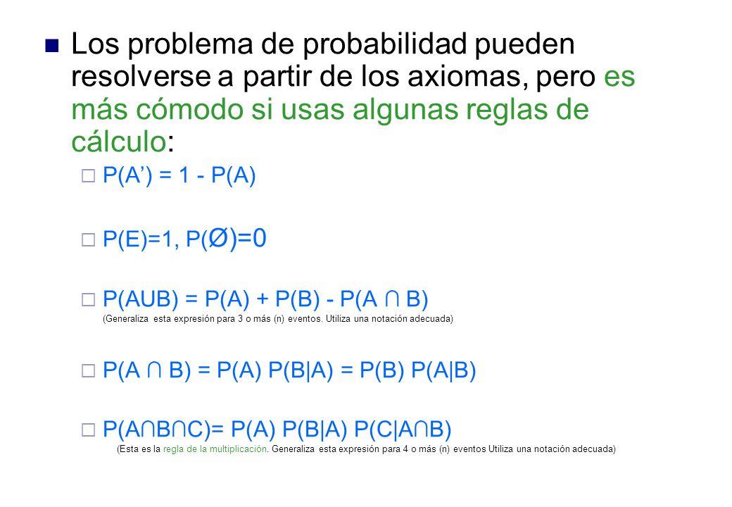 Los problema de probabilidad pueden resolverse a partir de los axiomas, pero es más cómodo si usas algunas reglas de cálculo: