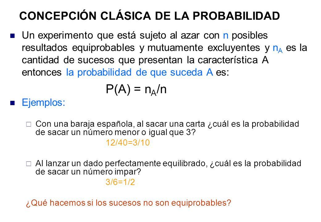 CONCEPCIÓN CLÁSICA DE LA PROBABILIDAD