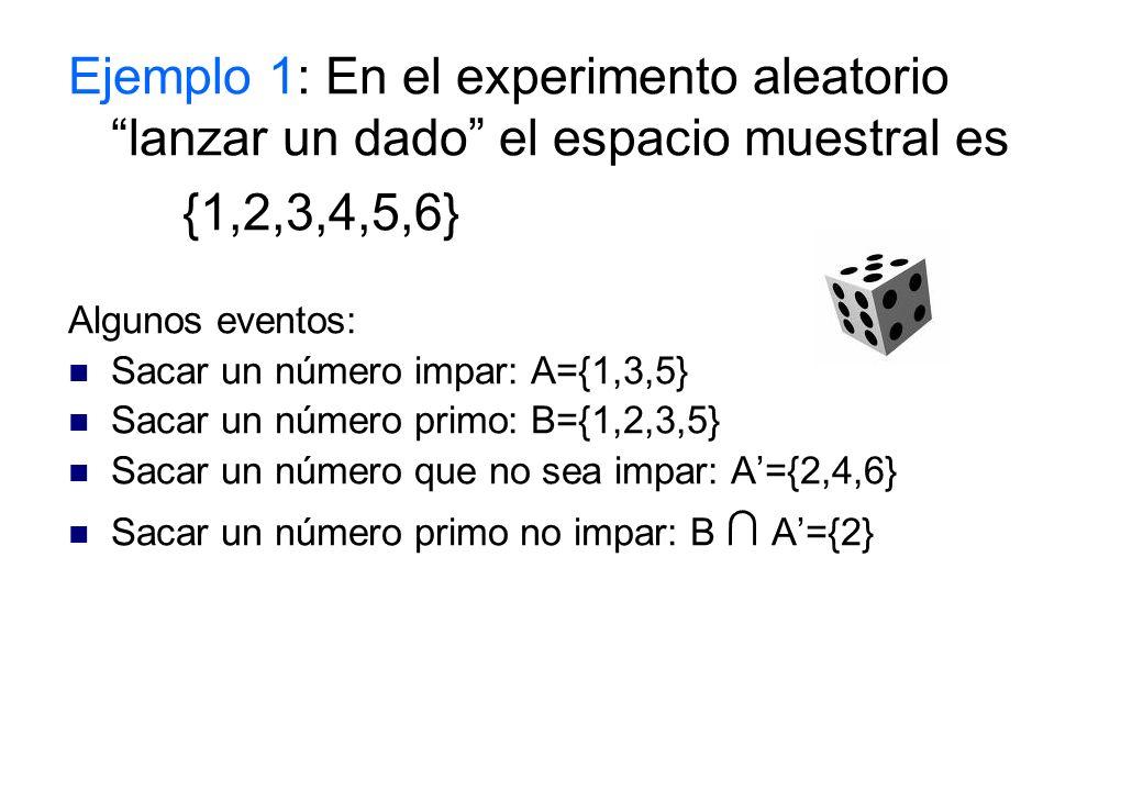 Ejemplo 1: En el experimento aleatorio lanzar un dado el espacio muestral es