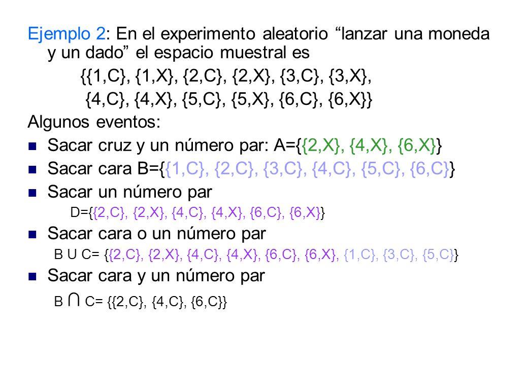 Sacar cruz y un número par: A={{2,X}, {4,X}, {6,X}}