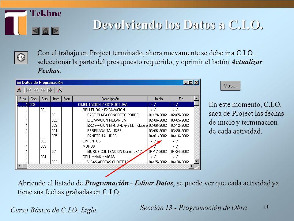 Devolviendo los Datos a C.I.O.