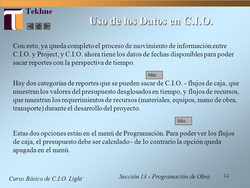 Uso de los Datos en C.I.O.