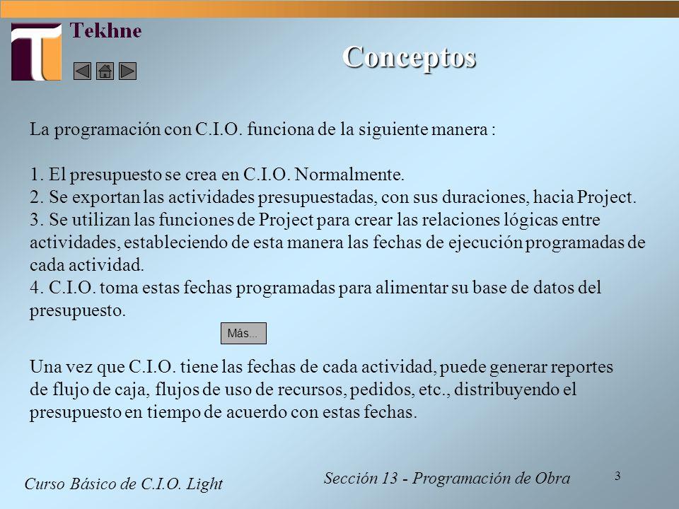 Conceptos La programación con C.I.O. funciona de la siguiente manera :