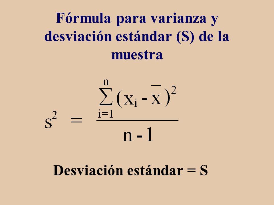 Fórmula para varianza y desviación estándar (S) de la muestra