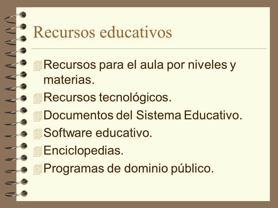 Recursos educativos Recursos para el aula por niveles y materias.
