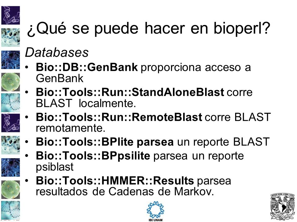 ¿Qué se puede hacer en bioperl