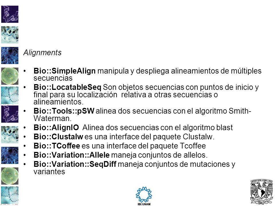 Alignments Bio::SimpleAlign manipula y despliega alineamientos de múltiples secuencias.