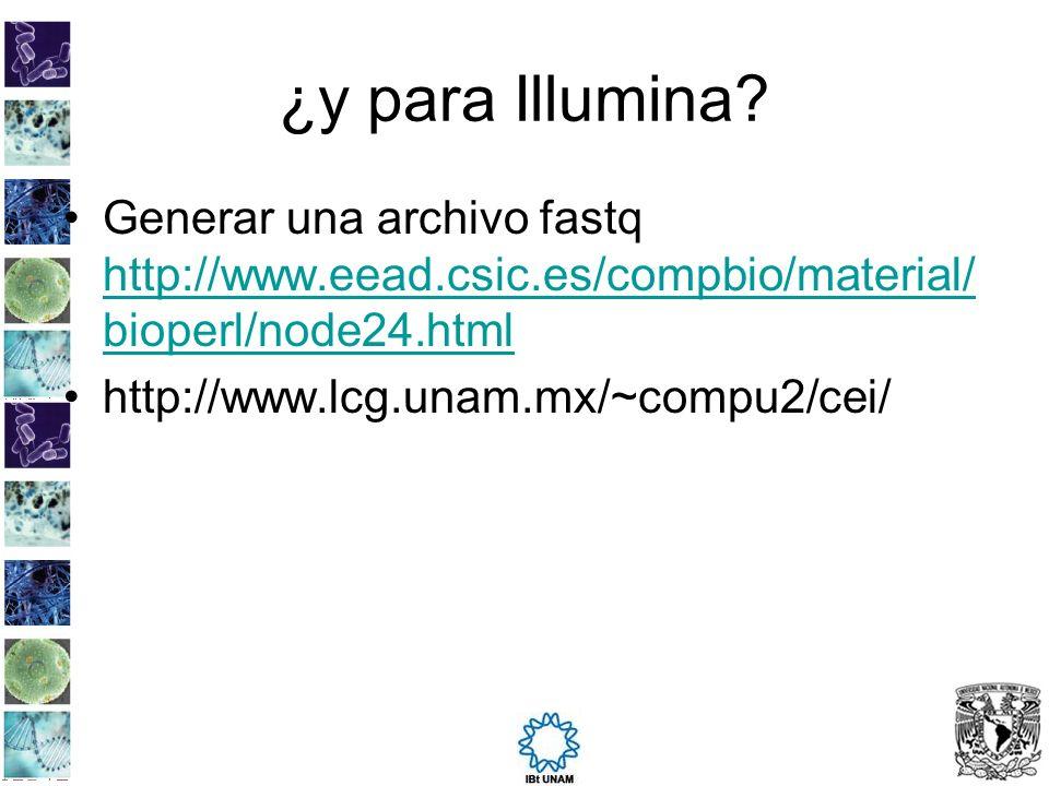 ¿y para Illumina Generar una archivo fastq http://www.eead.csic.es/compbio/material/bioperl/node24.html.
