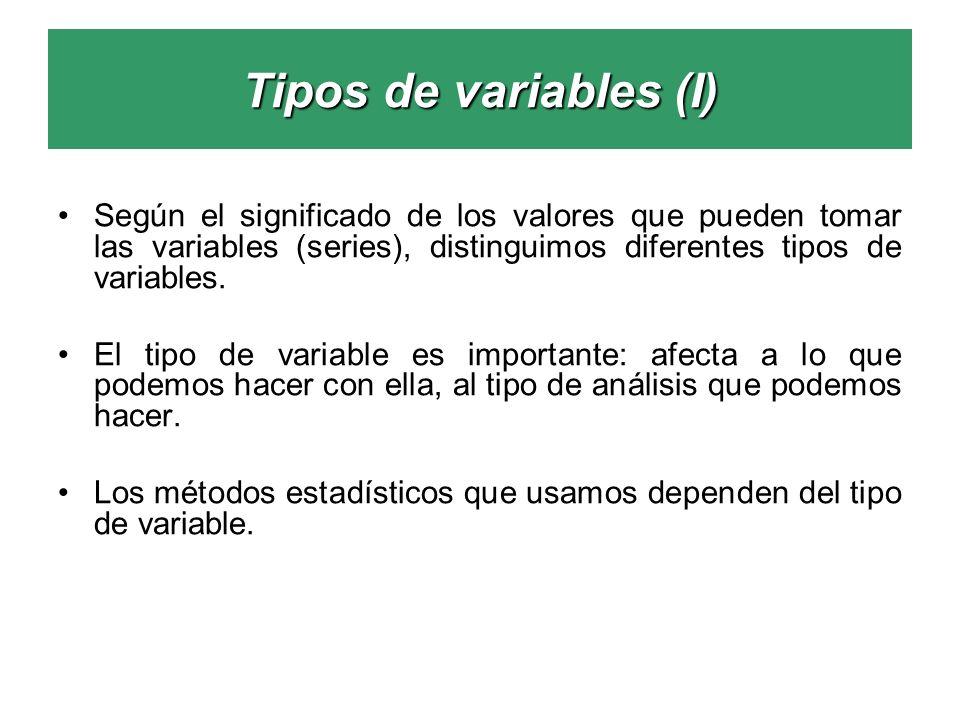 Tipos de variables (I) Según el significado de los valores que pueden tomar las variables (series), distinguimos diferentes tipos de variables.
