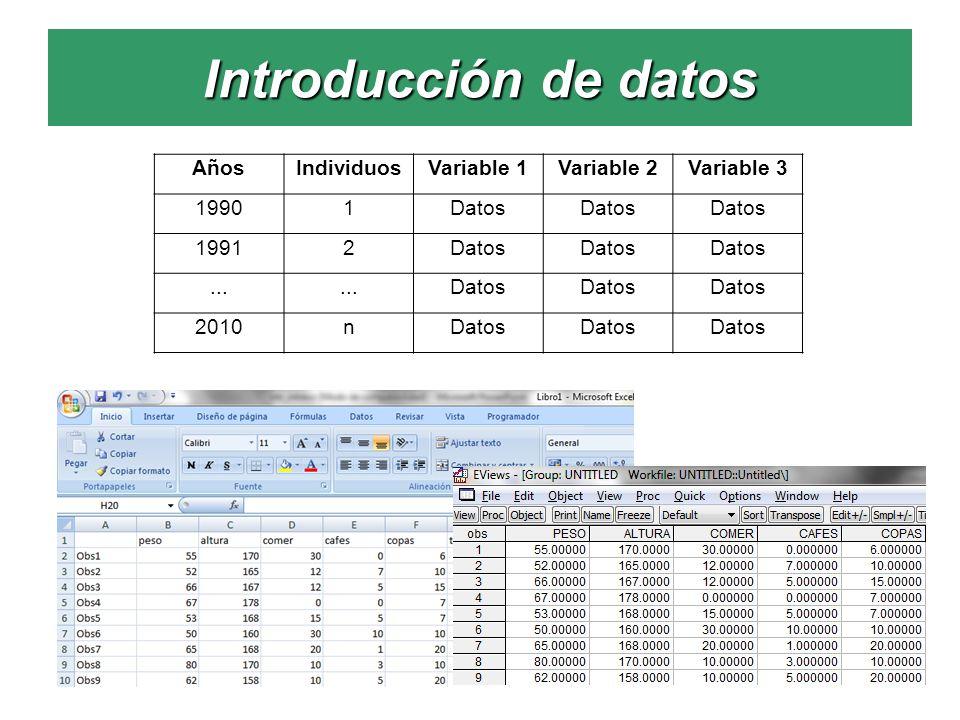 Introducción de datos Años Individuos Variable 1 Variable 2 Variable 3