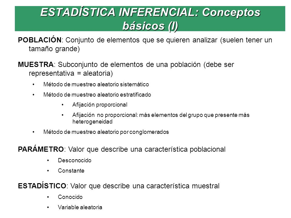 ESTADÍSTICA INFERENCIAL: Conceptos básicos (I)