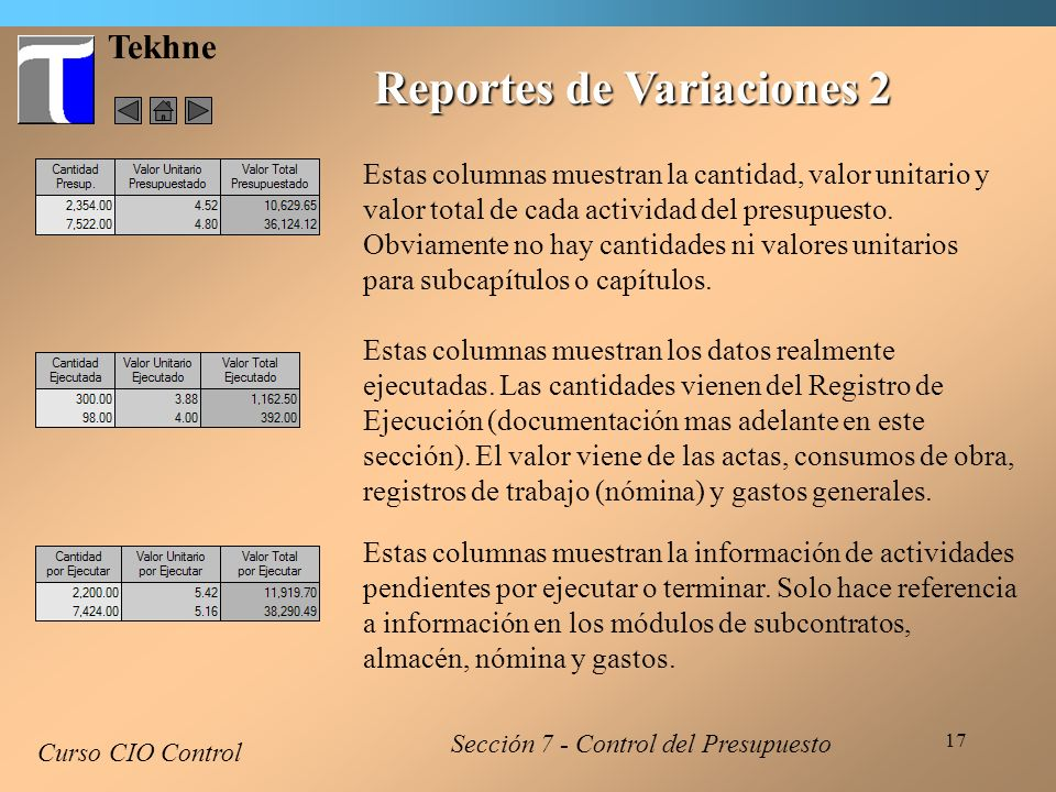 Reportes de Variaciones 2