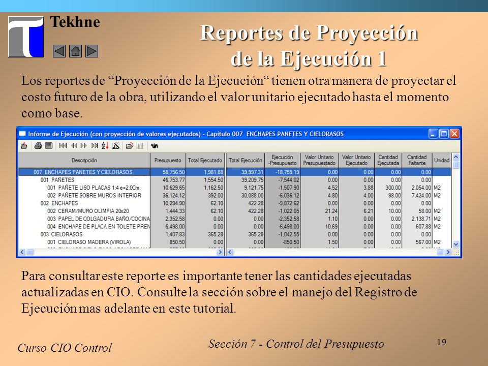 Reportes de Proyección de la Ejecución 1