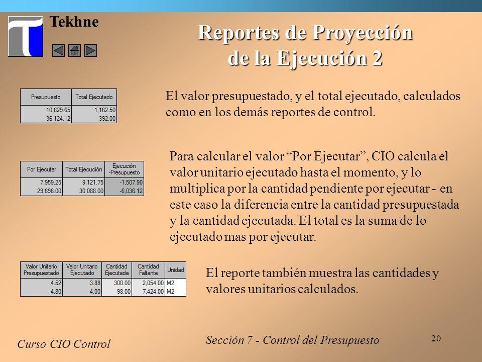 Reportes de Proyección de la Ejecución 2