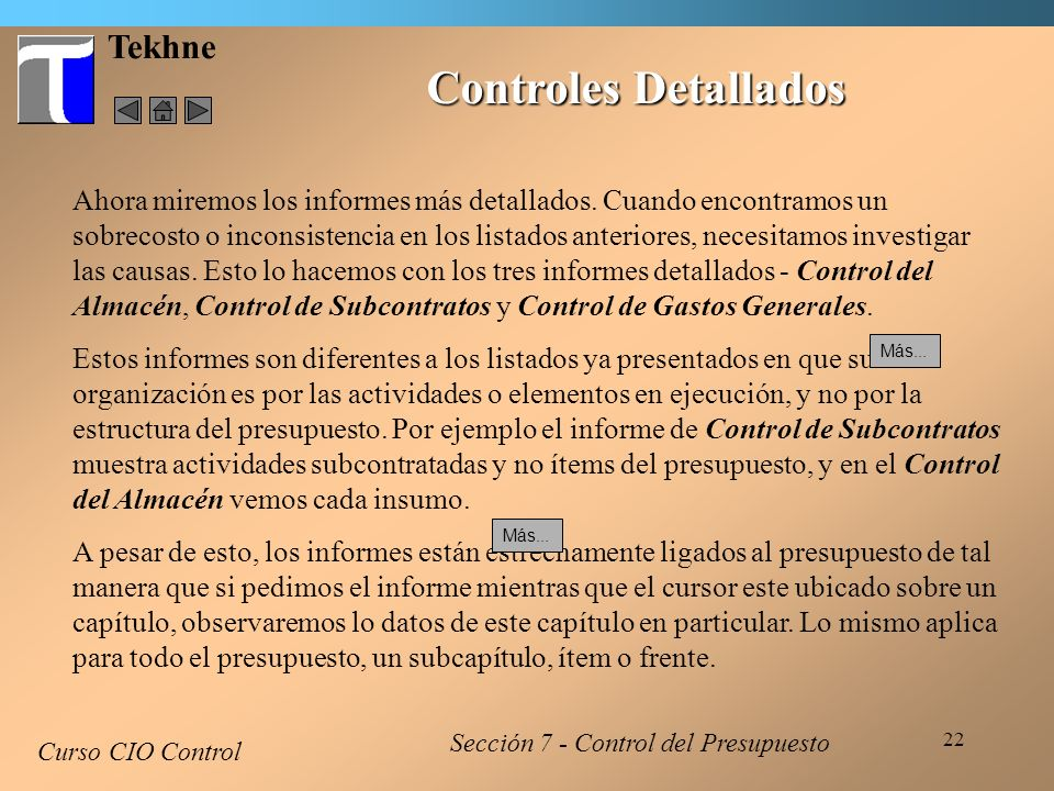 Controles Detallados Tekhne