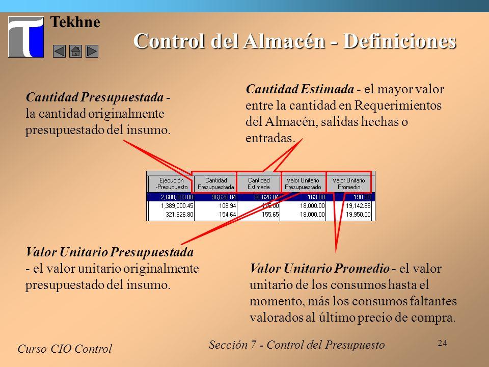 Control del Almacén - Definiciones