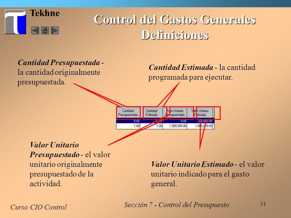 Control del Gastos Generales