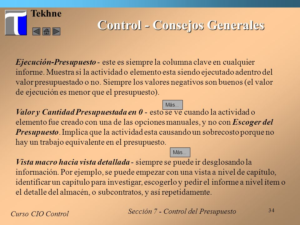 Control - Consejos Generales