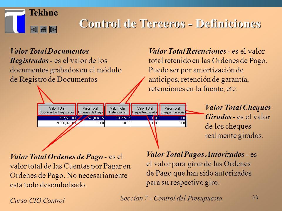 Control de Terceros - Definiciones