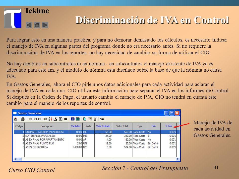 Discriminación de IVA en Control