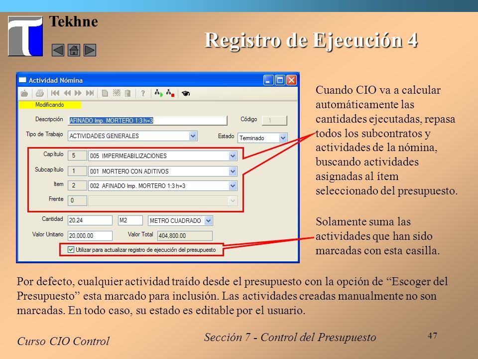 Registro de Ejecución 4 Tekhne