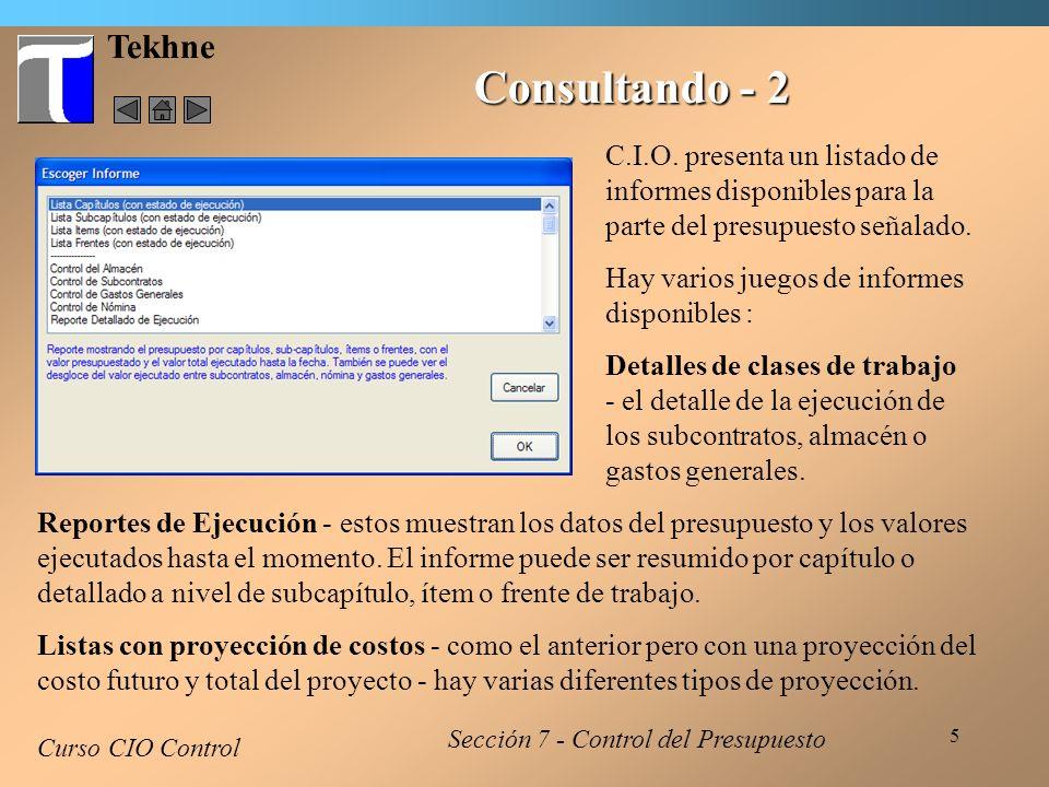 Tekhne Consultando - 2. C.I.O. presenta un listado de informes disponibles para la parte del presupuesto señalado.