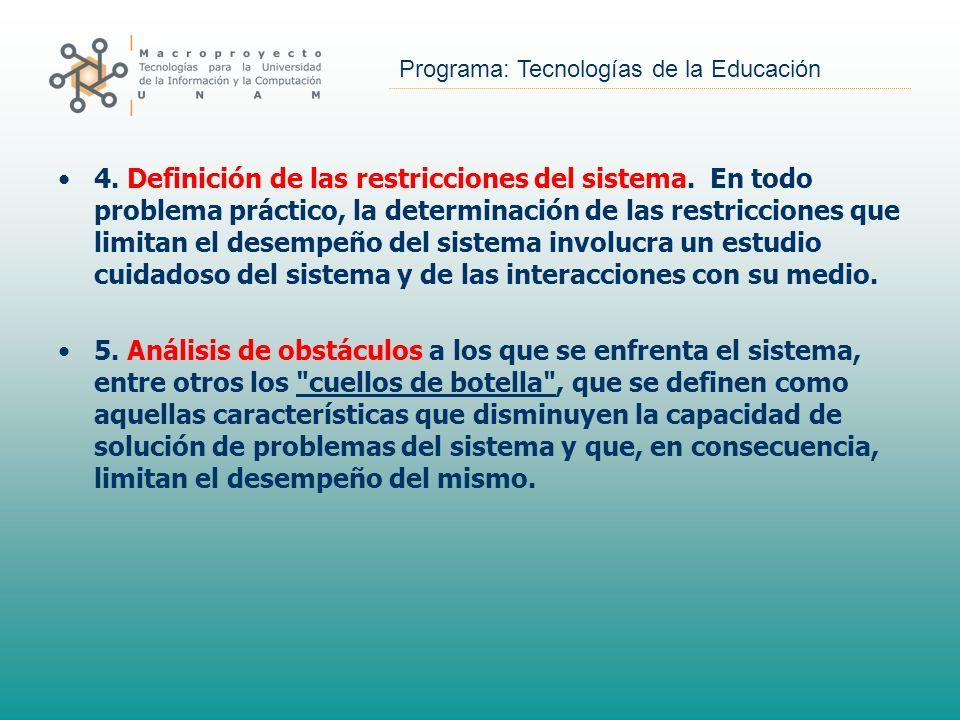 4. Definición de las restricciones del sistema