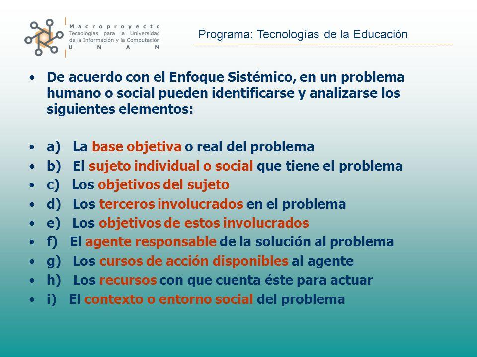 De acuerdo con el Enfoque Sistémico, en un problema humano o social pueden identificarse y analizarse los siguientes elementos: