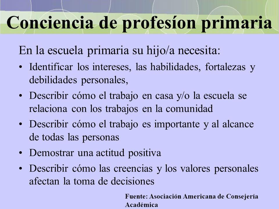Conciencia de profesíon primaria