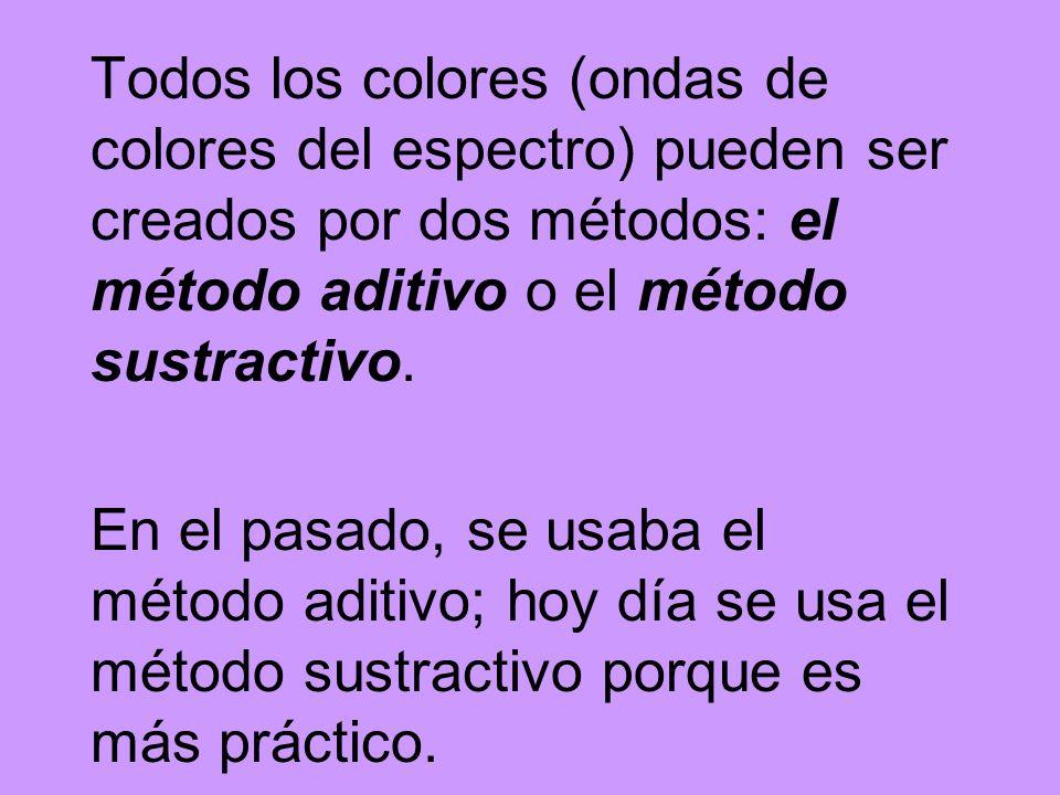 Todos los colores (ondas de colores del espectro) pueden ser creados por dos métodos: el método aditivo o el método sustractivo.
