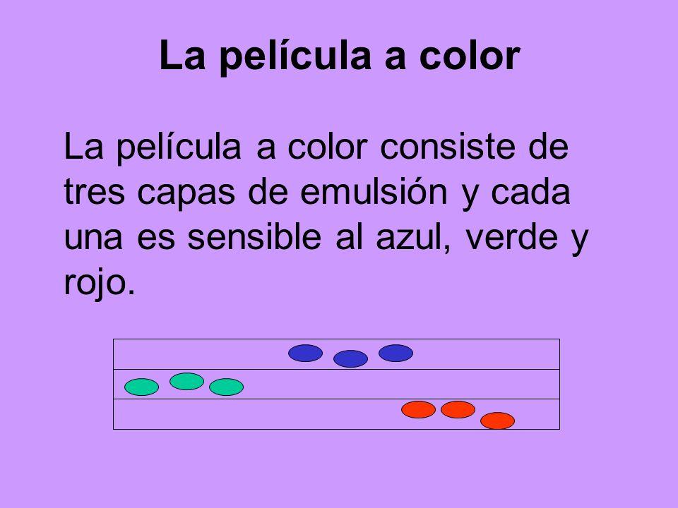 La película a colorLa película a color consiste de tres capas de emulsión y cada una es sensible al azul, verde y rojo.