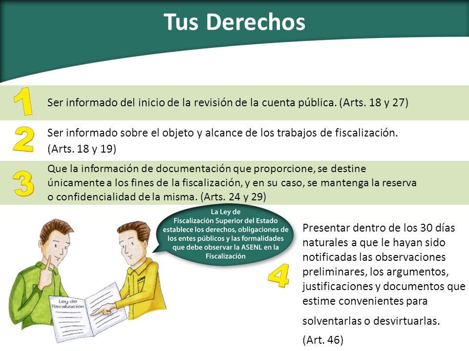 Tus Derechos Ser informado del inicio de la revisión de la cuenta pública. (Arts. 18 y 27)
