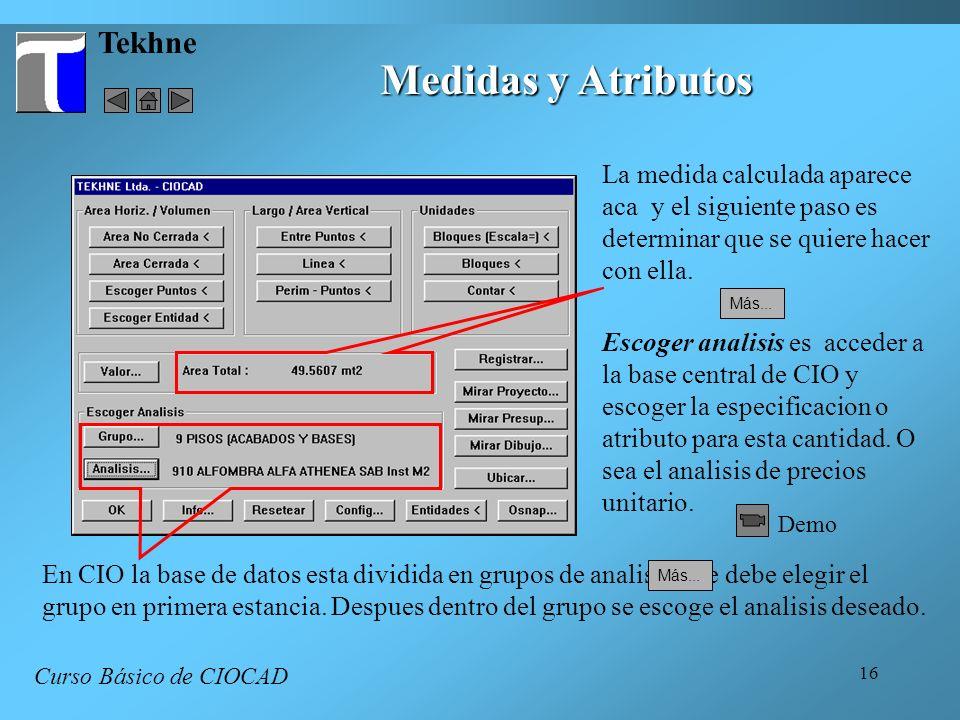 Medidas y Atributos Tekhne La medida calculada aparece