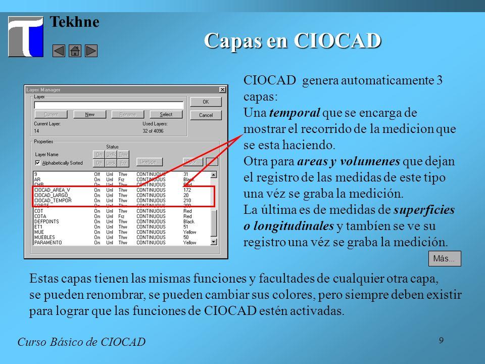 Capas en CIOCAD Tekhne CIOCAD genera automaticamente 3 capas: