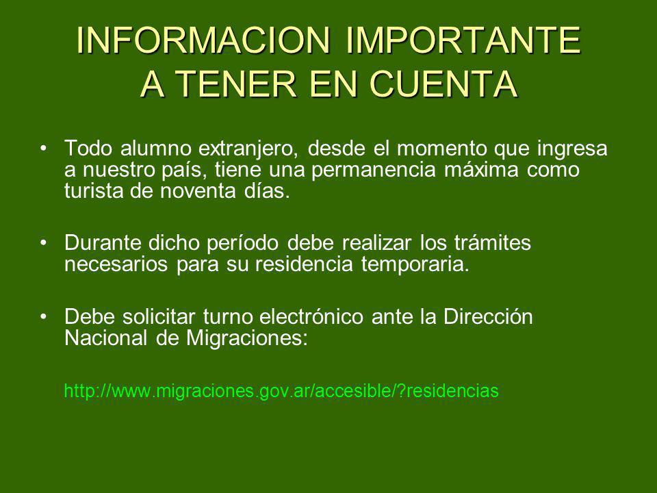 INFORMACION IMPORTANTE A TENER EN CUENTA