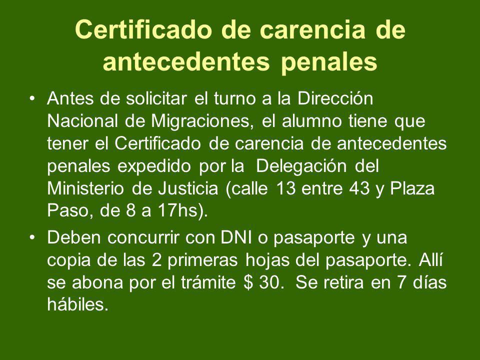 Certificado de carencia de antecedentes penales