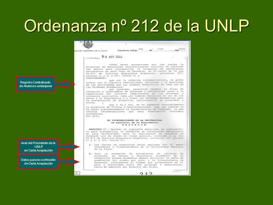 Ordenanza nº 212 de la UNLP Registro Centralizado