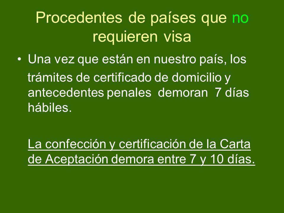 Procedentes de países que no requieren visa