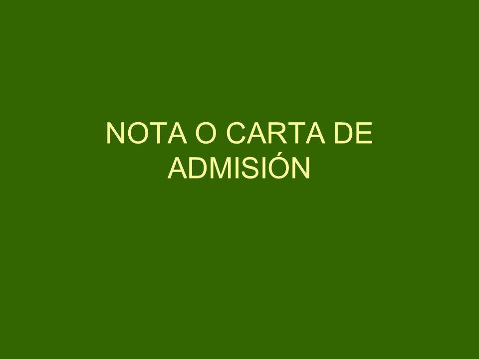 NOTA O CARTA DE ADMISIÓN