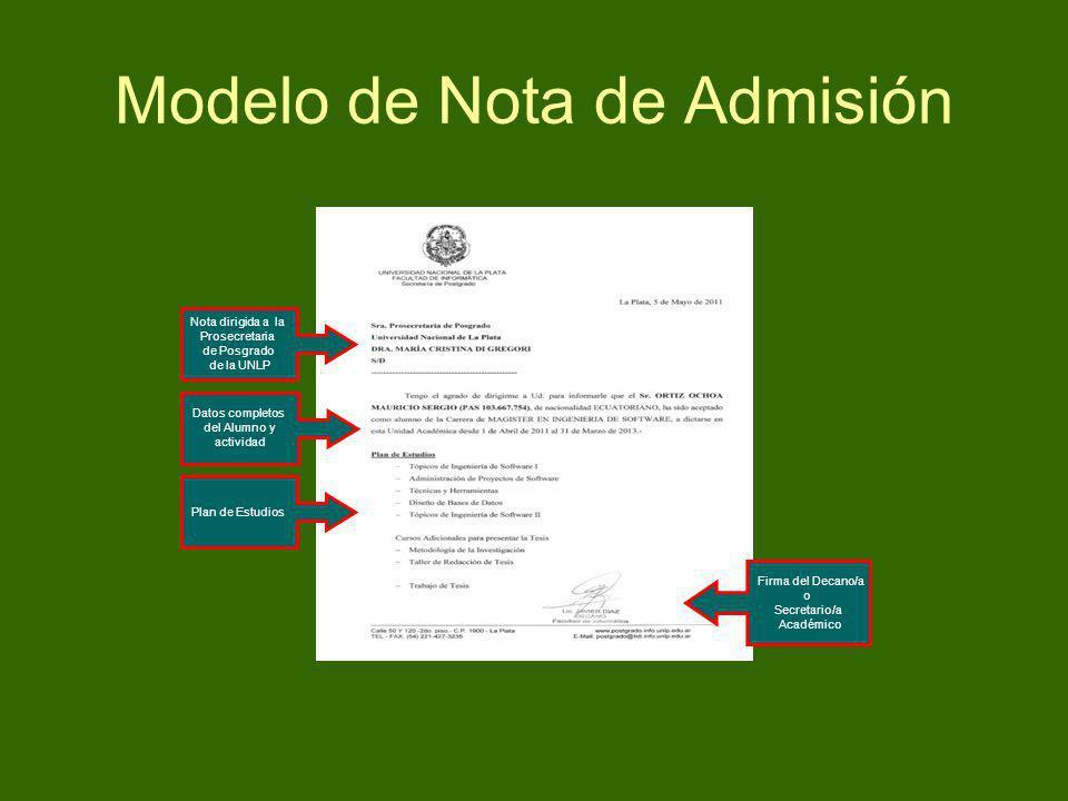 Modelo de Nota de Admisión