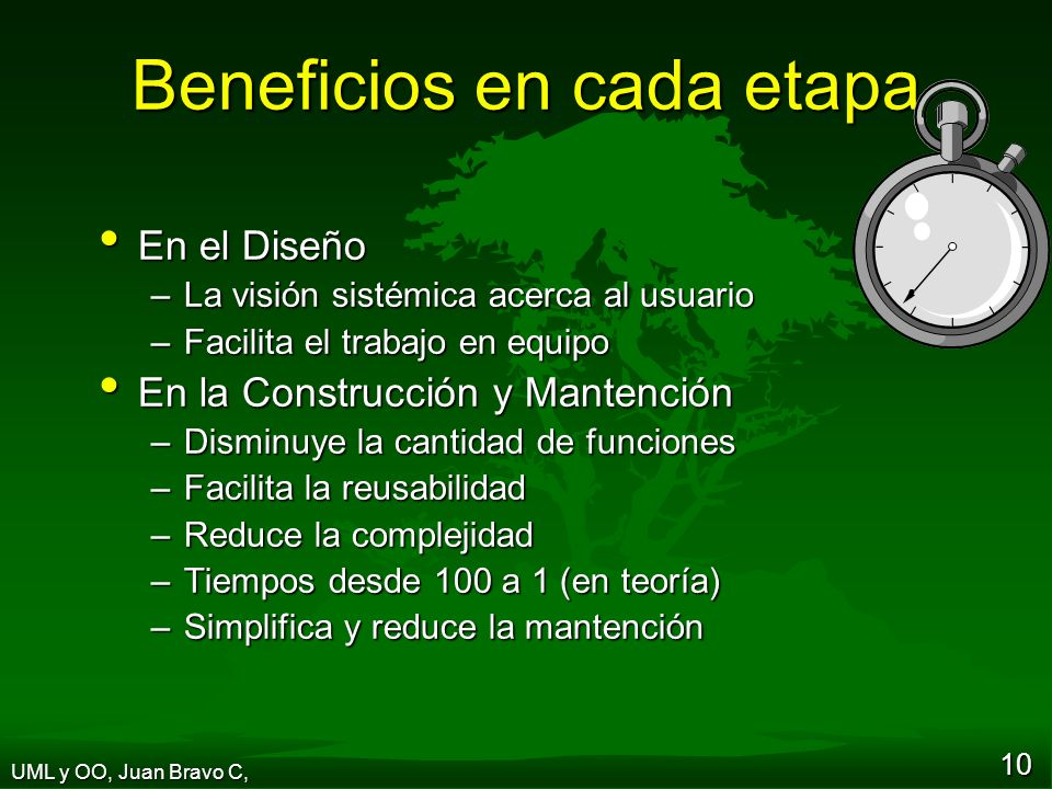 Beneficios en cada etapa
