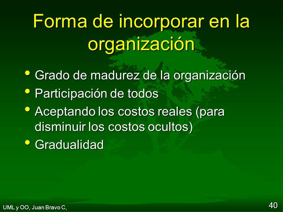 Forma de incorporar en la organización