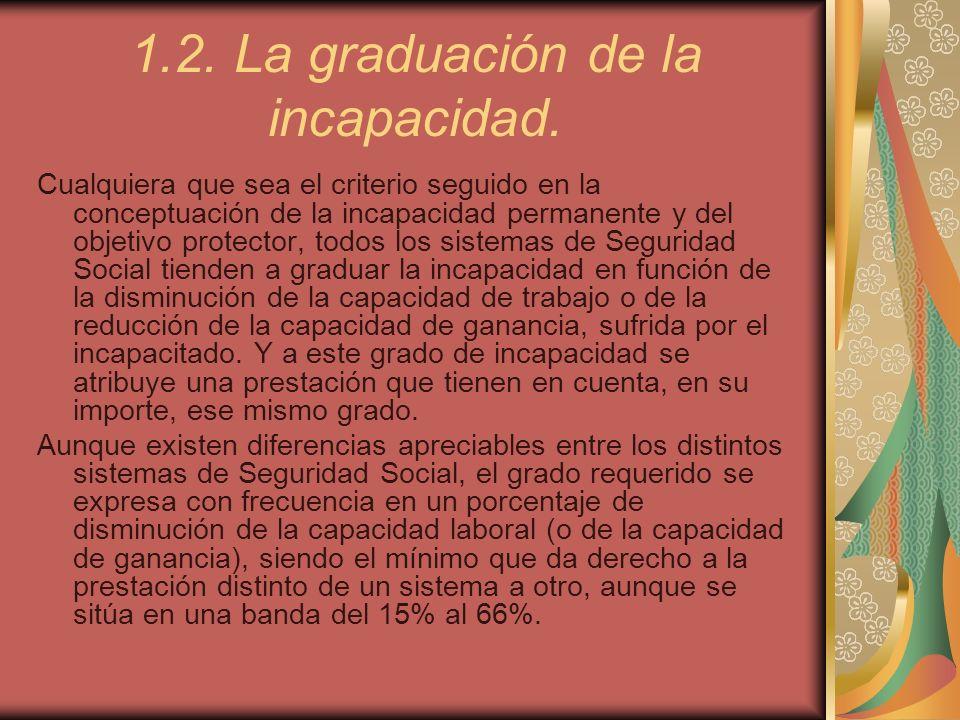 1.2. La graduación de la incapacidad.