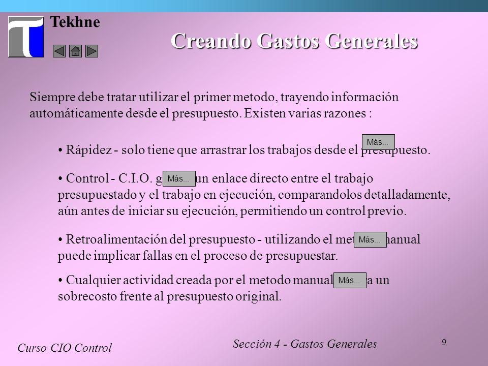 Creando Gastos Generales