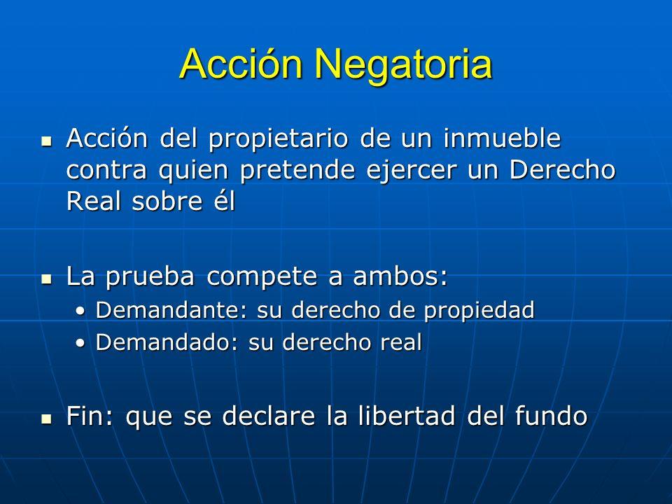 Acción NegatoriaAcción del propietario de un inmueble contra quien pretende ejercer un Derecho Real sobre él.