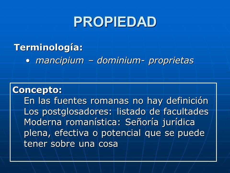 PROPIEDAD Terminología: mancipium – dominium- proprietas Concepto: