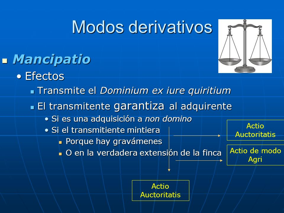 Modos derivativos Mancipatio Efectos