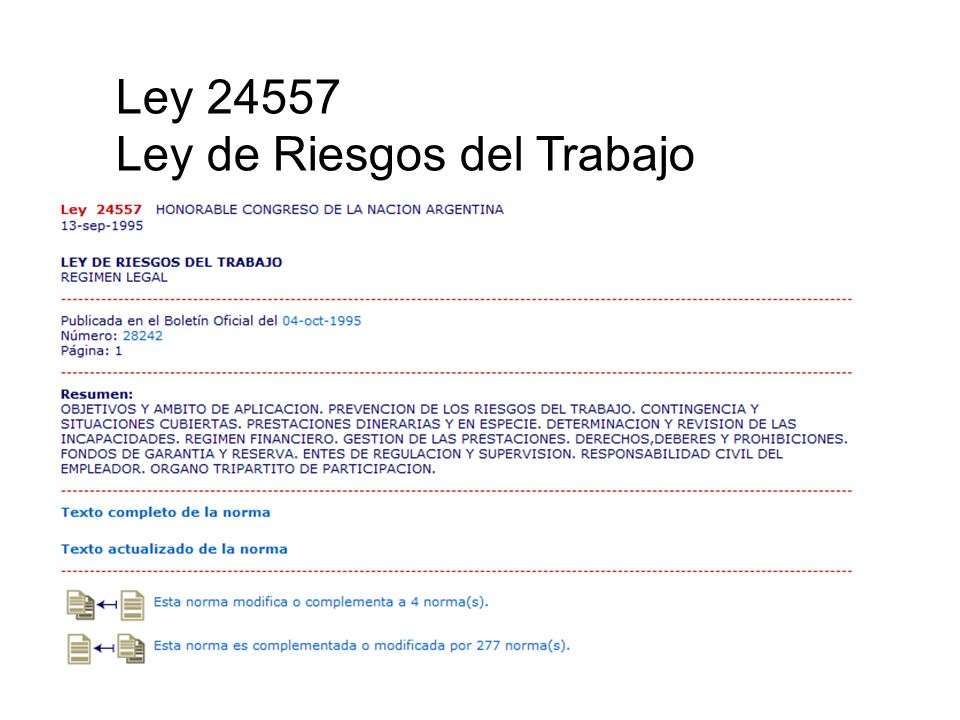 Ley 24557 Ley de Riesgos del Trabajo