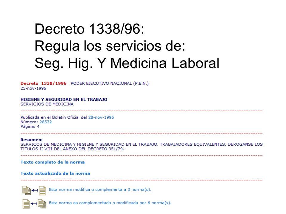Decreto 1338/96: Regula los servicios de: Seg. Hig. Y Medicina Laboral